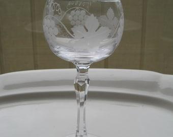 Vintage Etched Glass Crystal Stemware Goblet Wine Glass Water Glass Fruit Motif