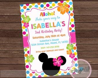 Minnie Mouse Luau Party Invitation, Minnie Mouse Hawaiian Birthday Party Invitation, Minnie Mouse Luau Party nvitation, Digital File
