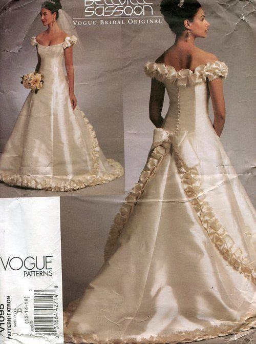 FREE US SHIP Vogue 1095 Designer Bellville Sassoon Wedding Bridal ...