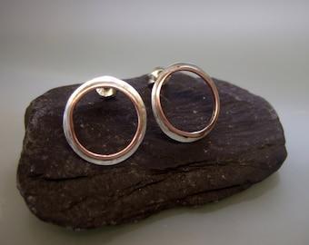 Silver copper hoop earrings, silver hoop stud earrings, copper hoop stud earrings, silver 925 hoop stud earrings, silver handmade hoop studs