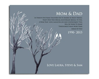 25th Silver Wedding Anniversary - Personalized Anniversary Tree Gift - Add Any Wording or colors of Your Choice