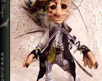Sir Marlin - OOAK Polymer Clay Goblin, Pixie, Elf, Faerie, Art doll