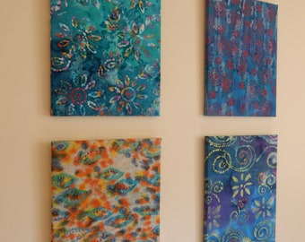 Set of 4 Vibrant Fabric Frames with Acrylic Paint Finishing Touch that will brighten the Spring and Summer in your Home