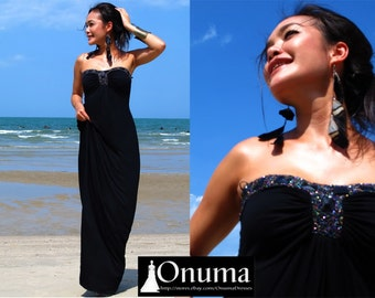 Summer Black strapless Beach evening long maxi dress S M L XL