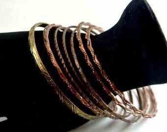 Eight Brass and Copper Bangle Bracelets Nine Inch Long Vintage 1970 Bangles Mix Style Bangles