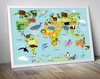 Nursery map etsy nursery world map nursery map map for kids world map for kids kids wall art kids world map kids map world map animal world map decor gumiabroncs Images