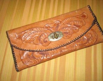 Vintage 1940s/50s Tooled Brown Leather Large Wallet