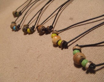 Bone and Glass bead leather choker necklace native american style 6 necklaces