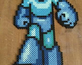 Large Megaman Perler bead pixel art sprite