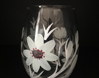 Hand painted stemless wine glass/juice glass/beverage cup/flowers