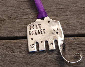 ELEPHANT ornament Don't Forget I Love You ~  Large size made from Repurposed SERVING Fork with Hearts and Eyelashes Purple Ribbon