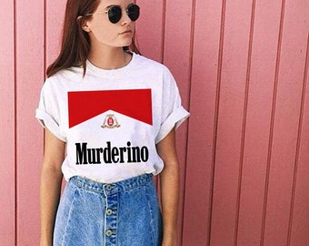 My Favorite Murderino Smokin Babe Graphic Tee - MFM My Favorite Murder Murderino White Graphic Tee