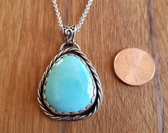 Sterling Silver and Blue Gem Mine turquoise pendant