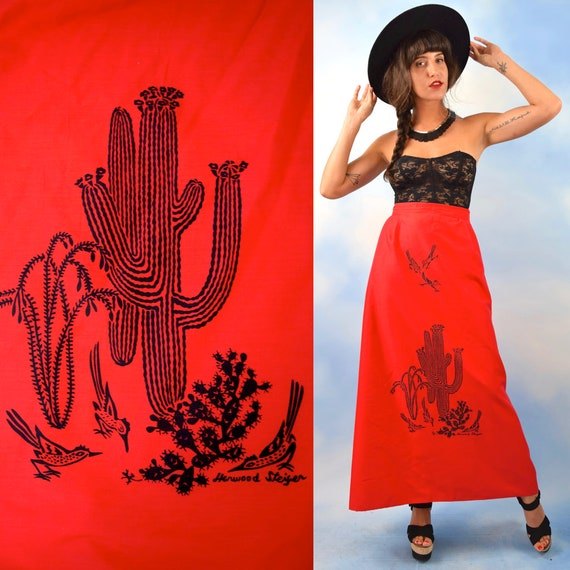 Vintage 60s 70s Harwood Steiger Desert Cactus Screen Printed Polished Cotton High Waisted Cherry Red A Line Maxi Skirt (size medium, large)