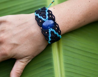 Black/Blue Micro-Macrame Hand Cuff/Arm Band with Turquoise or Sodalite Cabochon