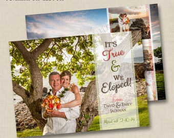 We Eloped or Got Married Custom Wedding Announcement Design or any occasion - optional backside design