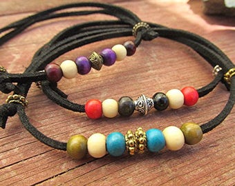 Two For One SALE Leather beaded anklet leather ankle bracelet adjustable wooden bead anklet suede leather boho anklet hippie anklet gift.
