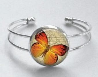 Orange Butterfly Cuff Bracelet - Orange and Beige bracelet - Butterfly art 20mm cuff bracelet - Adjustable Silver Bangle Cuff Bracelet