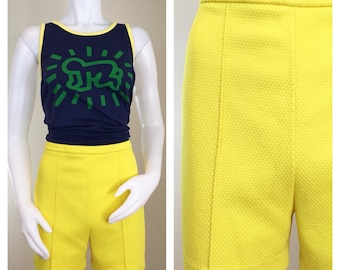 60s Catalina Yellow Polyester Fitted Shorts, Size Medium