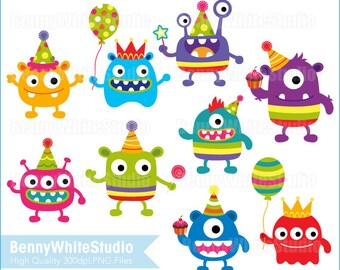 Party Monsters Clip Art. For Personal and Small Commercial Use. B-0128