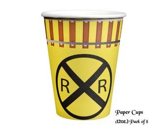 Railroad Party Cups, Train birthday decorations, 8 pack, 12oz, tracks, RR Crossing, Conductor, Retirement, Boys, Shower, Choo Choo, Hobbyist