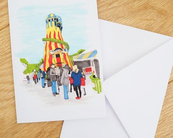 """Vintage Fair Ground Helter Skelter Illustration - 5"""" x 7"""" Greetings Card 