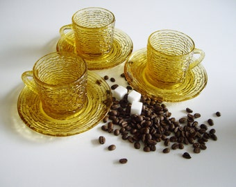 Vintage, Coffee Cups and Saucers, Anchor Hocking Soreno, Glass, Mid Century, Amber, Coffee Set, Set of 3, textured, bark, Cappuccino