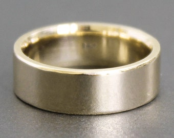 14K Solid Gold Ring - 6x1.5mm Heavy Rectangle Band - Simple UNISEX Wedding Ring (Sizes 4-12)
