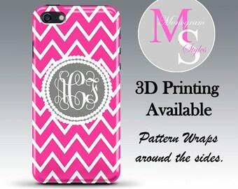 Monogram iPhone Case iphone 6 Personalized Phone Case Pink Chevron Monogrammed iPhone 6, 6S Case, Iphone 4, 4S, iPhone 5S, 5C, 6S Plus #2690