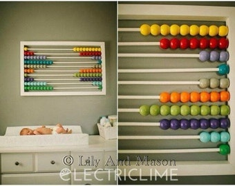 Nursery Decor, Nursery Wall Art, Wood Nursery Decor, Wooden Abacus, Rainbow Wall Art, Colorful Wall Art, Modern Nursery Art, Modern Decor
