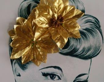 Metallic Gold Poinsettia Hair Flower Clip