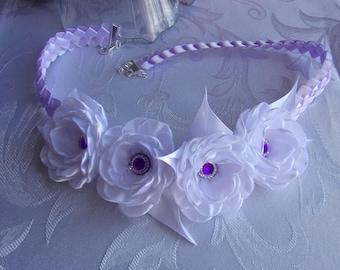 Wedding wreath Ribbon satin/kanzashi/braided white and purple wedding headband bridal Crown