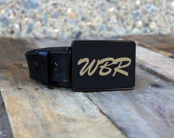 Custom Belt Buckle, Engraved Belt Buckle, Monogram Belt Buckle, Personalized Belt Buckle, Metal Belt Buckle, --BBRECT-B-WBR