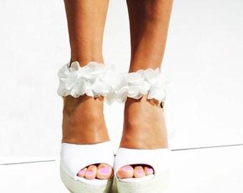 BOHOLUXE Peep Toe Platform Wedge Lace Up Espadrille Boho style Wedding Ibizencas bridal shoes Wedding shoes Custom shoes