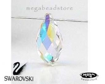 6 pcs 11mm Clear AB Swarovski Crystal 6010 Briolette Tear Drop