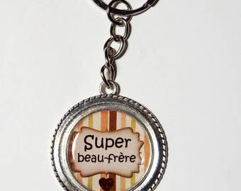 """Keychain men gift brother-in-law """"Super brother"""""""