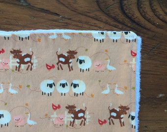 Baby Blanket for a Girl or Boy - Farm Animals on Tan with White Faux-Chenille Backing