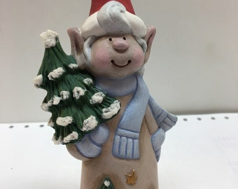 Handmade ceramic gb Christmas elf with blue scarf