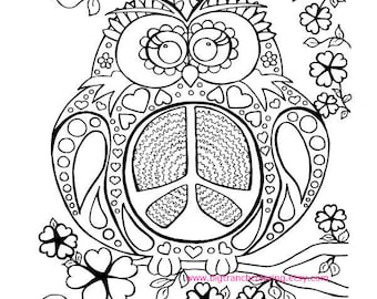 Adult Coloring Page - Colouring - Peace Owl - Hippie Coloring - Hand Drawn - Printable Digital Download