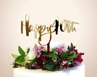 40th Birthday Cake Topper - Laser Cut - Hawaii Calligraphy