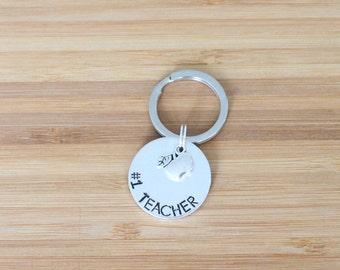 hand stamped keychain   #1 teacher