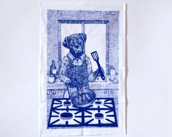 Labrador Dog Tea Towel cooking breakfast in the kitchen navy