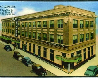 Vintage Linen Hotel Senator New Orleans Louisiana Unused Postcard