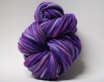 Handspun Merino Yarn Thick and Thin Slub tts(tm) Hand dyed Self Striping LR 1501x