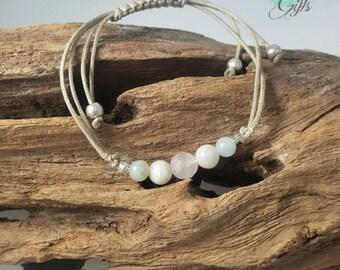 Handmade Gemstone Fertility Bracelet with  Rose Quartz, Jade and Moonstone, calming, adjustable - IVF TTC Gift