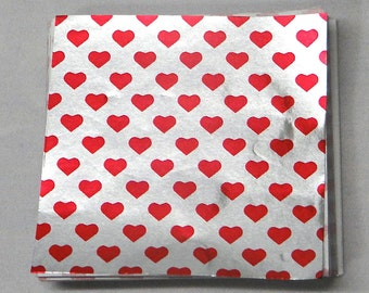 Valentines Day Heart Print Candy Foil Wrappers Confectionery Foil 125 count