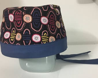 Scrub hat aboriginal fabric