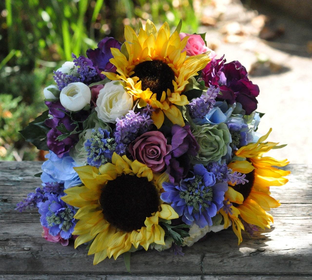 Fall wedding bouquet made of silk flowers sunflowers blue zoom izmirmasajfo