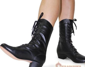 Woman Russian Dance Cossack Shoes Kadrille, Cossack boots, Dance boots, Russian boots, Scenic boots, Folk boots, lacing boots