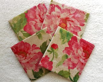 Rustic Pink Roses set of 4 Ceramic Tile Coasters, Vintage flowers, Hand Decoupaged, Coffee Table Floral Place Mats, for hot and cold drinks